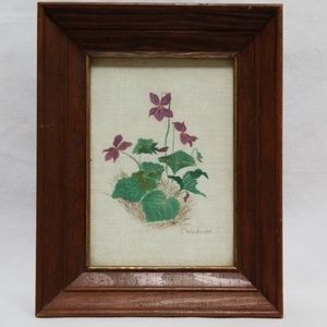Wild Violets Antique Cloth Painting P. Woodward